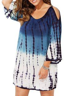 c246fc5bef Womens Plus Size Cold Shoulder Cover Up Bathing Suit Beachwear Swimwear  Cover-ups Gradient - Blue - C418C4QLDCN