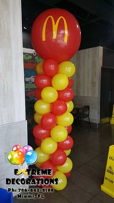 We offer balloon decorations for Corporate events. Mc Donald Birthday, Mc Donald Party, Balloon Columns, Balloon Arch, Balloon Decorations, Birthday Party Decorations, Birthday Diy, Birthday Parties, Mcdonalds Birthday Party