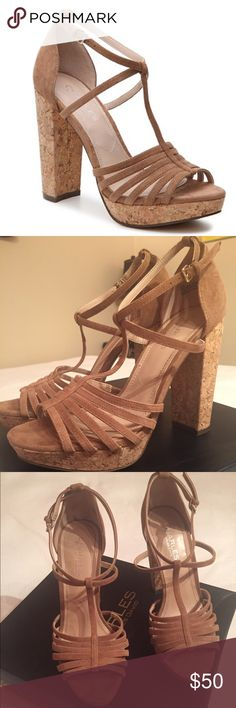 """Charles by Charles David Faint Sandal Super cute platform suede T-strap sandal with adjustable buckle. 1"""" platform, 4 3/4"""" cork block heel. Comfort and style that pairs with everything from shorts to denim to party dresses! Only worn once. Originally paid $110 Charles David Shoes Sandals"""
