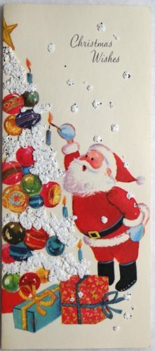 #195 50s Santa w/ Popcorn Tree-Vintage Christmas Greeting Card