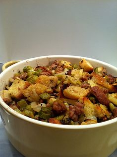 The BEST stuffing... Bar None.   #thanksgiving #food #foods #pie #pies #cake #cakes #holiday #holidays #dinner #snacks #dessert #desserts #turkey #turkeys #comfortfood #yum #diy #party #great #partyideas #family #familytime #gmichaelsalon #indianapolis #fun #stuffing #best #unique #recipes www.gmichaelsalon.com #thanksgiving #stuffing #turkey