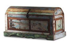 Truhe Riverhouse - recycletes Altholz - bunt lackiert