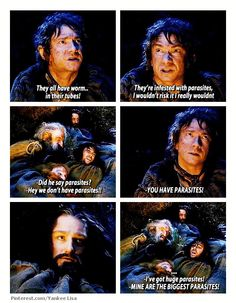 I love it when Thorin kicks the other dwarves to shut them up when he realizes what Bilbo is doing.....
