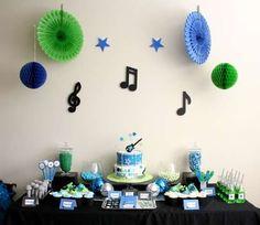 "Photo 15 of Rock Star Guitar / Birthday ""Rock Star Birthday"" Music Party Decorations, Birthday Decorations, Party Themes, Party Ideas, Kids Birthday Themes, 13th Birthday Parties, Guitar Party, Party On Garth, Music Themed Parties"