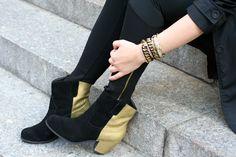 DIY   gold color block boots