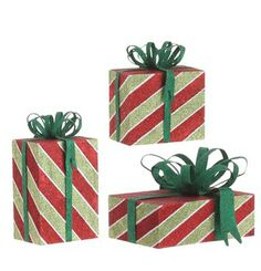 RAZ Glittered Christmas Present Decoration Set of 3  3 Assorted Christmas package style decorations Glittered red, lime green and green, diagonal stripes with metal bows Made of Metal