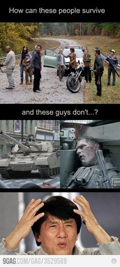 yeah I have always found it humerous that glen the previous pizza boy survives easily, yet the military is rendered useless against walkers haha
