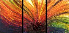 """60"""" Abstract Art Deco colorfull Original painting acrylic  triptych  3 canvases"""