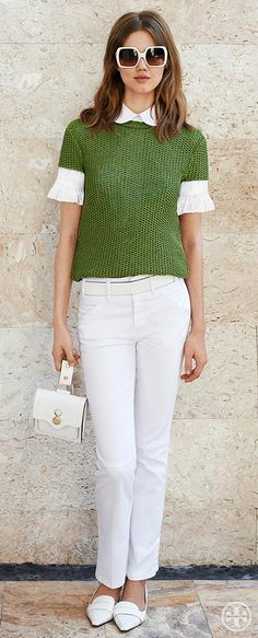 Swap out blue jeans for white denim for a fresh summer look | Tory Burch Summer 2014