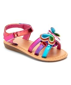 Look what I found on #zulily! Pink & Blue Iridescent Butterfly Sandal by Ositos Shoes #zulilyfinds