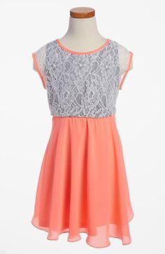 W Girl Neon Lace Chiffon Dress (Little Girls & Big Girls) | Nordstrom