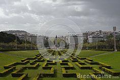 View over Eduardo VII Park, Marques de Pombal square, Lisbon, Portugal