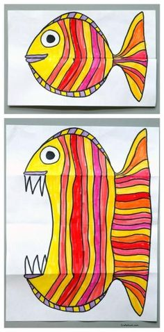 Folding Fish paper art project. Art for kids, easy art projects by kosaari