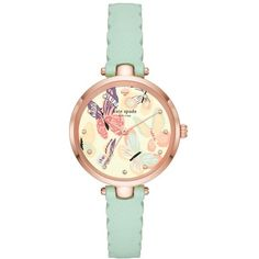 Women's Kate Spade New York Holland Butterfly Leather Strap Watch,... ($195) ❤ liked on Polyvore featuring jewelry, watches, butterfly watches, dial watches, kate spade watches, kate spade jewelry and kate spade