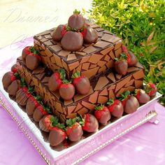 Chocolate Mosaic Grooms Cake by Diane's Cakes