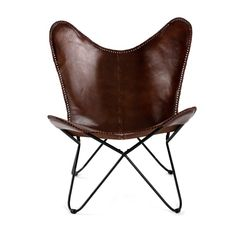 MH London Butterfly Chair - Genuine Leather I Handmade, Iron Frame I Industrial Lounge Chair I Comfortable Iconic Recliner I Hand-Stitching Industrial Effect I x x - Montreux, Brown Leather Thread, Leather Fabric, Leather Chairs, Leather Recliner, Design Shop, Classic Leather, Real Leather, Brown Leather, Leather Cover