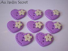 Button fimo heart - providing hand-made - 2 cm
