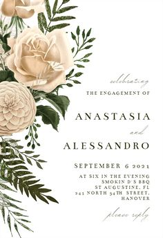 Cream Bouquets - Engagement Party Invitation #invitations #printable #diy #template #Engagement #party #wedding Gift Registry, Engagement Party Invitations, Party Wedding, Wedding Engagement, Bouquets, Printable, Place Card Holders, Templates, Island