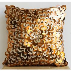 Handmade Copper Throw Pillows Cover 16x16 Silk by TheHomeCentric
