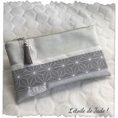 Your place to buy and sell all things handmade Embroidery Bags, Pouch Tutorial, Fabric Strips, Pearl Grey, Grey Leather, Printed Cotton, Cosmetic Bag, Cotton Fabric, Wallet
