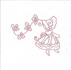 "All 10 ""Christmas Sunbonnets"" Set 3 Redwork Quilt Blocks Machine Embroidered | eBay"