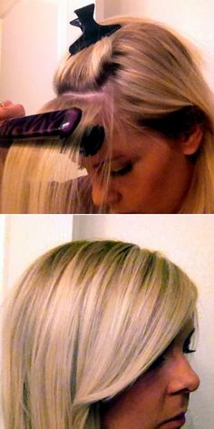 Having trouble getting your bangs to lie down straight and STAY that way? Follow this tutorial, which involves using a flat iron or round brush and a little back-combing