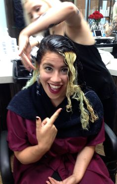 My Beautiful Step daughter Katie in the process of getting Mermaid colored hair,,,pre-lightening and adding depth...