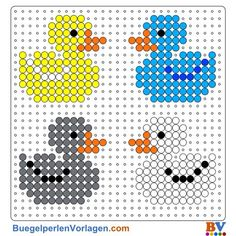 Enten Bügelperlen Vorlage - Ducks perler bead pattern You are in the right place about wooden Beading Here we offer you the most beautiful pictures about the african Beading you are looking for. Melty Bead Patterns, Pearler Bead Patterns, Perler Patterns, Beading Patterns, Mosaic Patterns, Crochet Patterns, Loom Patterns, Loom Beading, Crochet Designs