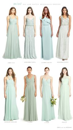 Mint Mismatched Bridesmaid Dresses. How to style the mix and match bridesmaid dresses in mint and aqua colors for a wedding.