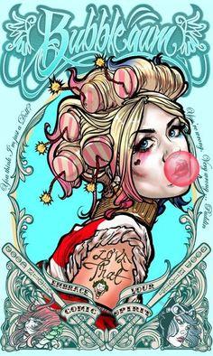 Harley Quinn Bubblegum - Limited Edition Signed Metal Print By David Bircham - Joker Comic, Joker Art, Harley Quinn Cosplay, Joker And Harley Quinn, Harley Quinn Tattoo, Harley Quinn Drawing, Comic Books Art, Comic Art, Arte Dc Comics