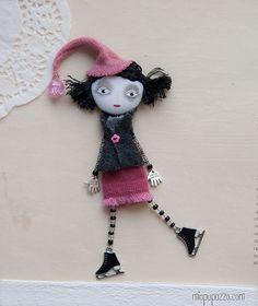 Art Doll Brooch Long Pink Hat Skating Girl mixed by miopupazzo,