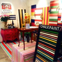 Our booth at a fair/exhibition in Borås/Sweden. Custom mixes of Chalk Paint from Annie Sloan on just about everthing.