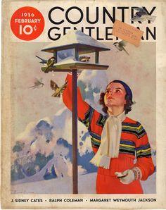 "Giclee Print: ""Feeding the Birds,"" Country Gentleman Cover, February 1936 by Jack Murray : Magazine Art, Magazine Design, Magazine Covers, Snow Pony, Poster Prints, Art Prints, Vintage Magazines, Vintage Country, Wildlife Art"