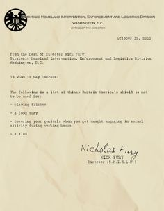 Memos From Fury: Captain America's shield is not to be used for...
