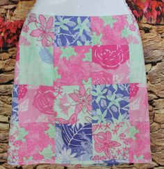 Lilly Pulitzer Patch Work Skirt 6 Lemons Floral 100% Cotton Lined Cruise Skirts Women's Clothing