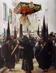 Joaquín Sorolla Bastida (1863-1923). Sevilla, Los nazarenos. 1914. Óleo sobre lienzo. The Hispanic Society of America, New York, USA.