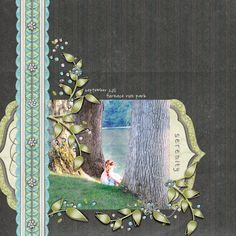 This scrapbook layout was made using digital scrapbook collection, Brainiac, sold by Kathryn Estry