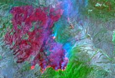 The shots, taken by the ASTER sensor on board the Terra satellite, were captured using visible and thermal infrared light.