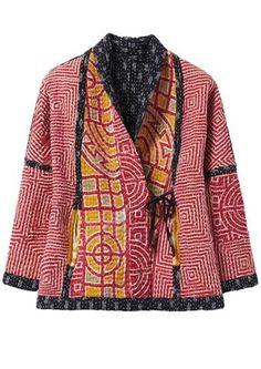 Indian Vintage Silk Sari Patchwork Colorful Long Coat,Cotton vintage Quilted Festive Fashion Jacket,Reversal Unisex Jacket,patchwork Jacket