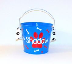 Pet Storage / Treat Bucket / New Puppy Gift Basket / Metal Pail / Metal Bucket by RayneEDayCrafts on Etsy