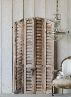 Old Chocolate Arched Vintage Shutters