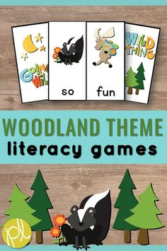 These woodland animals are perfect for autumn or all year long! This is a HUGE set of game cards to play in small groups. Differentiation is easy! Mix and match the five levels: alphabet, phonics sound spellings, sight words, CVC words, and CVCe words. Add extra cards to your word work centers! #woodlandanimals #woodland