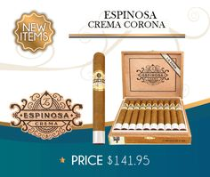 Espinosa Crema is the first blend from the boutique Espinosa brand to feature an Ecuadorian Connecticut leaf wrapper. Enveloping a premium blend of Nicaraguan long fillers and binder, these cigars are oh so creamy and smooth with tons of sweetness and a little bit of spice. Montecristo Cigars, Cohiba Cigars, Ashton Cigars, Cigar Deals, Premium Cigars, Mr Olympia, Connecticut, Gotham, Binder