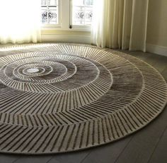 Contemporary Rug Silk Wool Patterned Nautilus By Damien Langlois Meurinne