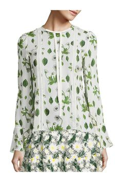 Giambattista Valli Floral Silk Blouse In Ivory Green Smart Business Casual, Business Casual Outfits, Giambattista Valli, Crew Neck, Ivory, Silk, Knitting, Blouse, Floral