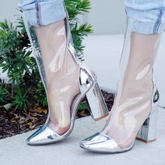 Shoe Boutique, Brand Boutique, Transparent Heels, Leather Texture, Silver Shoes, Chunky Heels, Cute Shoes, Heeled Boots, Stiletto Heels