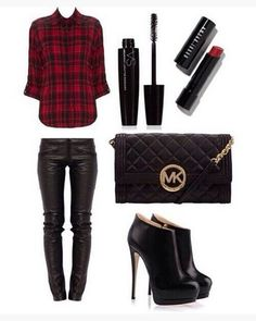 Plaid Outfit, Red Plaid Shirt, Black Leather Pants and Black Ankle Boots