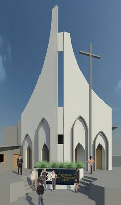 A worthy Church for Ayutuxtepeque - Pin Coffee Sacred Architecture, Cathedral Architecture, Cultural Architecture, Religious Architecture, Architecture Student, Architecture Design, Modern Church, Church Design, Episcopal Church
