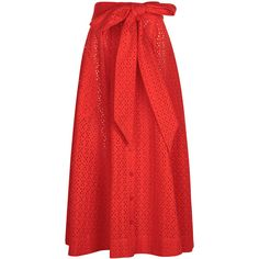 Lisa Marie Fernandez Tomato Red Broderie Anglaise Beach Skirt (4.500 DKK) ❤ liked on Polyvore featuring skirts and lisa marie fernandez
