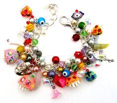 Day of The Dead / Sugar Skull charm bracelet by Leandra Holder on Etsy